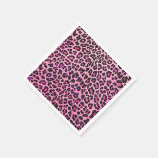 ヒョウの黒く、ショッキングピンクのプリント スタンダードカクテルナプキン