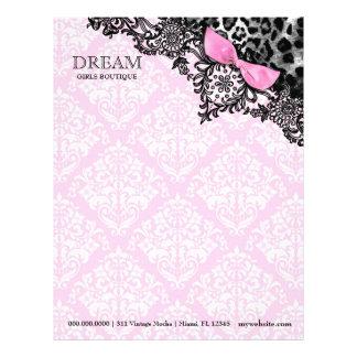 ヒョウ及びレースのガーリーなピンクのダマスク織の311夢 レターヘッド