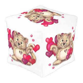 ヒョウ愛ポリエステルによって立方体にされるPouf (大きい) プーフ