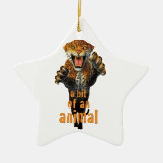 ヒョウ-動物のビット--を跳躍させます セラミックオーナメント