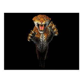 ヒョウ-動物のビット--を跳躍させます ポストカード