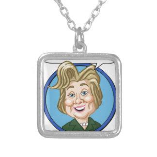 ヒラリークリントンの選挙2016年 シルバープレートネックレス