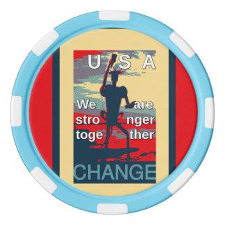 ヒラリー米国の大統領の空色のストライプのな端 ポーカーチップ
