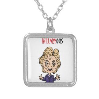 ヒラリー・クリントンのおもしろいな政治漫画 シルバープレートネックレス