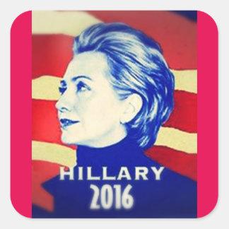ヒラリー・クリントンのステッカー スクエアシール