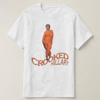 ヒラリー・クリントンの曲がったオレンジ黒いTシャツ Tシャツ