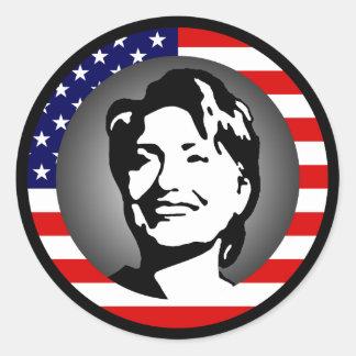 ヒラリー・クリントン08。私達旗 ラウンドシール
