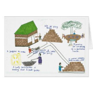 ヒルダの家族は家を造るために煉瓦を作ります カード