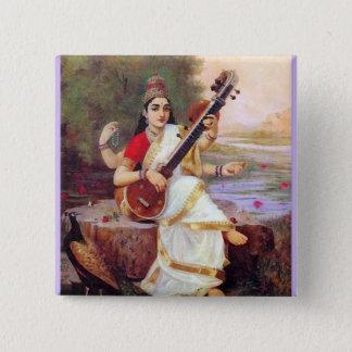 ヒンズー教の女神Saraswati 5.1cm 正方形バッジ