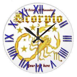 ヒントの下の(占星術の)十二宮図の蠍座デザイン1の眺め ラージ壁時計