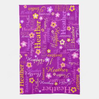 ヒースの文字の名前の紫色の花の台所タオル キッチンタオル