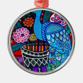 ヒースGallerによる花の芸術の孔雀 シルバーカラー丸型オーナメント