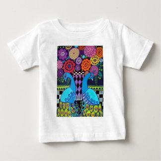 ヒースGallerによる花の芸術の孔雀 ベビーTシャツ
