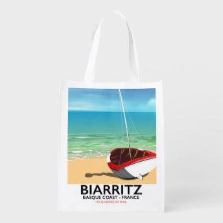 ビアリッツフランスのビーチ旅行ポスター エコバッグ
