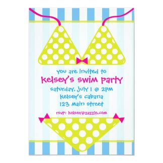 ビキニの水着の水泳のプールのパーティの招待状 カード