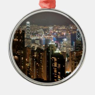 ビクトリアピークからの香港夜スカイライン メタルオーナメント
