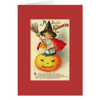 ビクトリアンで小さい魔法使いのHallowe'enの挨拶状 グリーティングカード