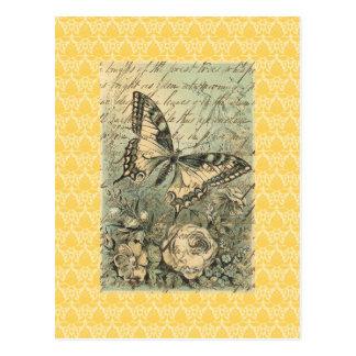 ビクトリアンで自然な蝶コラージュ はがき