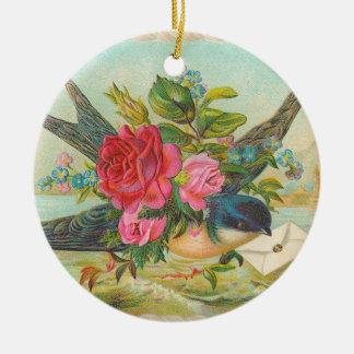 ビクトリアンで青い鳥のクリスマスのオーナメント セラミックオーナメント