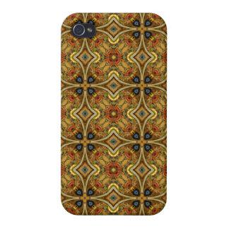 ビクトリアンなアールデコ中世パターン金ゴールドのデザイン iPhone 4 CASE