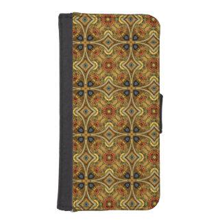 ビクトリアンなアールヌーボー中世パターン金ゴールド iPhoneSE/5/5sウォレットケース