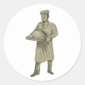 ビクトリアンなウェイターのサービングの食糧大皿のスケッチ ラウンドシール