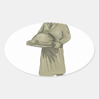 ビクトリアンなウェイターのサービングの食糧大皿のスケッチ 楕円形シール