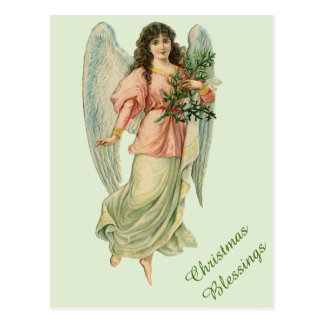 ビクトリアンなクリスマスの天使のヴィンテージの恵みカード ポストカード