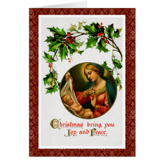 ビクトリアンなクリスマスの郵便はがき芸術マドンナ及び子供 カード