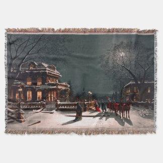 ビクトリアンなクリスマスイブのパーティの大邸宅のそりの雪 スローブランケット