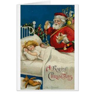 ビクトリアンなサンタおよび睡眠の子供のクリスマスカード カード