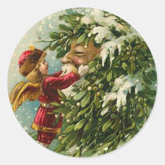 ビクトリアンなサンタのクリスマスのステッカー ラウンドシール