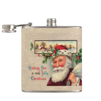 ビクトリアンなサンタの実質のすてきなクリスマスの応援 フラスク