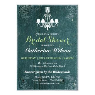 ビクトリアンなシャンデリアのブライダルシャワーの招待状RSVP カード