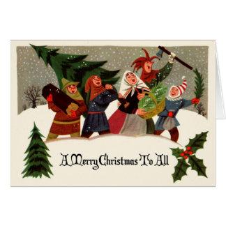 ビクトリアンなデザインのクリスマスの挨拶状 カード