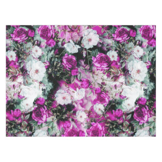ビクトリアンなバラの花のピンクの紫色の白い黒 テーブルクロス