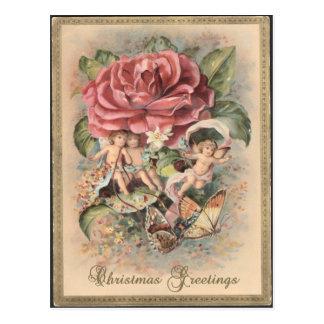 ビクトリアンなバラ及び天使のクリスマスの郵便はがき ポストカード