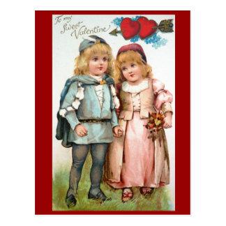 ビクトリアンなバレンタインの旧式な郵便はがきの恋人 ポストカード