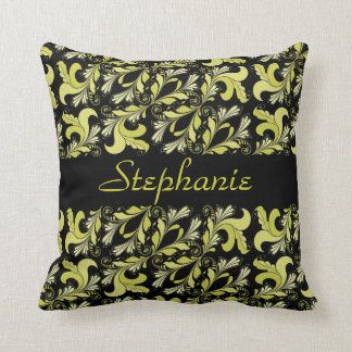 ビクトリアンなパターン、黄色、名前入りな黒 クッション