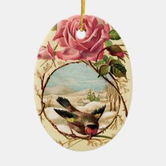 ビクトリアンなピンクのバラおよび鳥の楕円形のオーナメント セラミックオーナメント