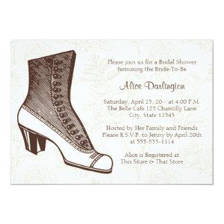 ビクトリアンなブーツおよび花柄の招待状 カード
