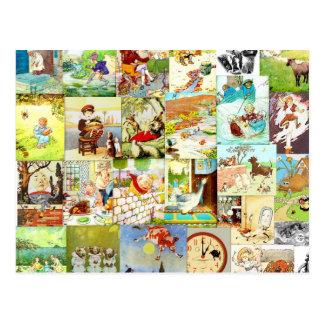 ビクトリアンなヴィンテージの子供の童謡のモンタージュ ポストカード