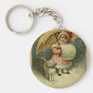 ビクトリアンなヴィンテージレトロの子供および猫のクリスマス キーホルダー