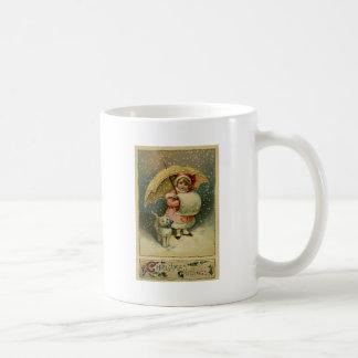 ビクトリアンなヴィンテージレトロの子供および猫のクリスマス コーヒーマグカップ