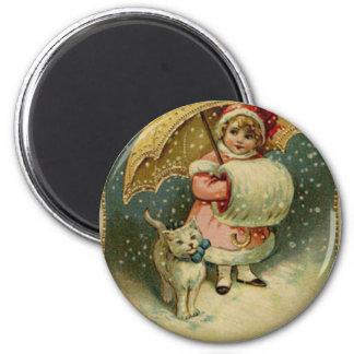 ビクトリアンなヴィンテージレトロの子供および猫のクリスマス マグネット