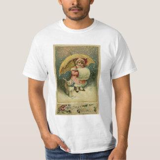 ビクトリアンなヴィンテージレトロの子供および猫のクリスマス Tシャツ