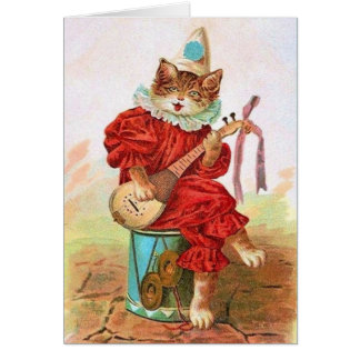 ビクトリアンな吟遊詩人猫のメッセージカード カード