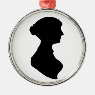 ビクトリアンな執権期間の女性のシルエットのポートレート メタルオーナメント