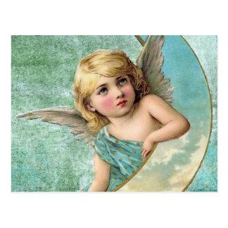 ビクトリアンな天使および月のヴィンテージのイラストレーション ポストカード