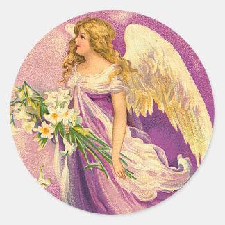 ビクトリアンな天使のステッカー ラウンドシール